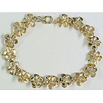 14k Gold Plumeria Hawaiian Bracelet with Satin and High Polish Finish