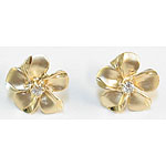 14k Gold Plumeria Hawaiian Earrings with Satin Finish