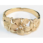 14kt Gold Triple plumeria Hawaiian Ring with Satin Finish