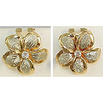 14k Gold Two-Tone Plumeria Hawaiian Earrings with Sand Finish