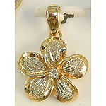 14k Gold Two-Tone Plumeria Hawaiian Pendant with Sand Finish