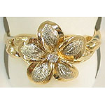 14k Gold Two-Tone Plumeria Hawaiian Ring with Sand Finish