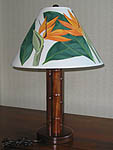Koa Wood Lamp with Hand Painted Bird of Paradise Shade