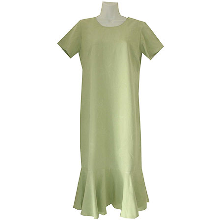 Green Palms Silk Short Sleeve Flounce Dress