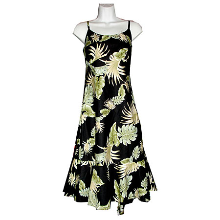 Palm Leaf Panel Spaghetti Flounce Dress