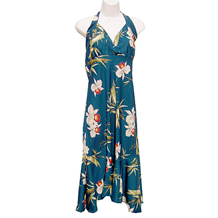 Bamboo Orchid Halter Flounce Dress