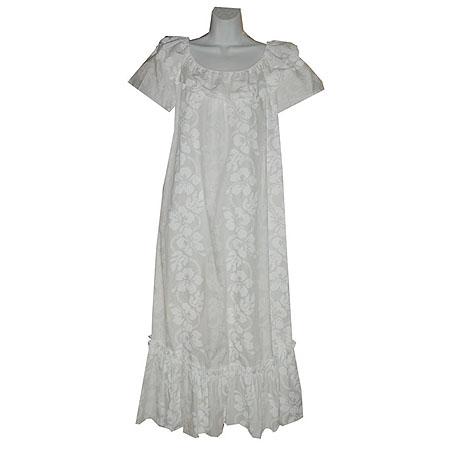 Hibiscus panel short sleeve long hawaiian muumuu hawaiian for Hawaiian wedding dresses with sleeves