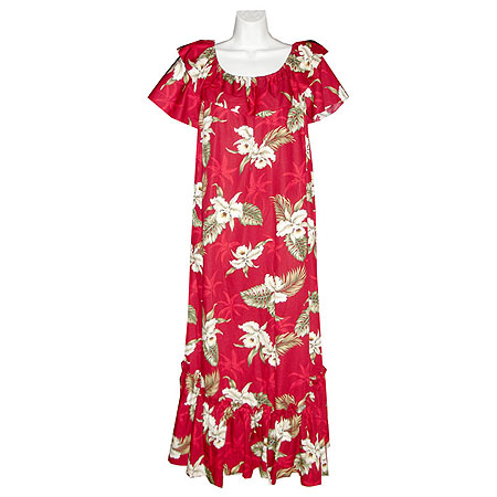 Orchid Palms 2 Short Sleeve Long Hawaiian Muumuu