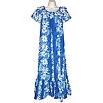 Hibiscus Orchid Palms Panel Short Sleeve Long Hawaiian Muumuu