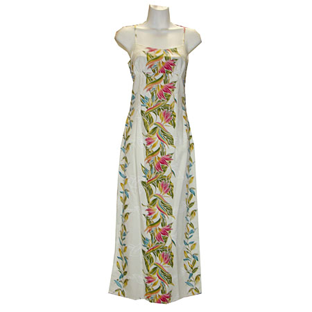 Bird of Paradise Panel Long Spaghetti Strap Dress