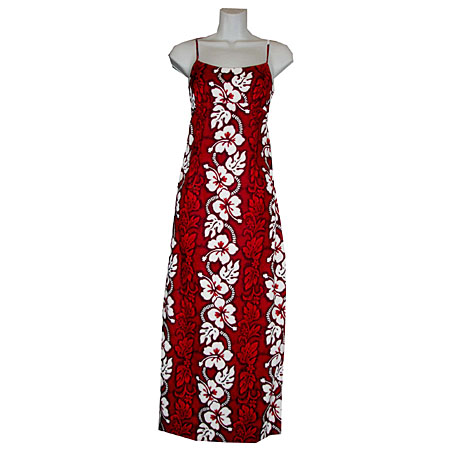 Hibiscus Panel Long Spaghetti Strap Dress