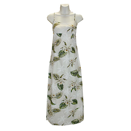 Orchid Palms 2 Long Spaghetti Strap Dress