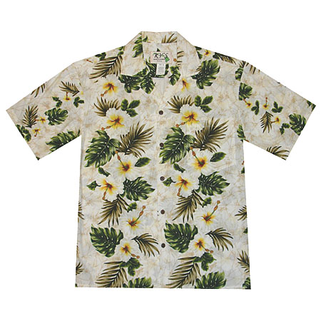 White Hibiscus Palms Panel Men's Hawaiian Shirt