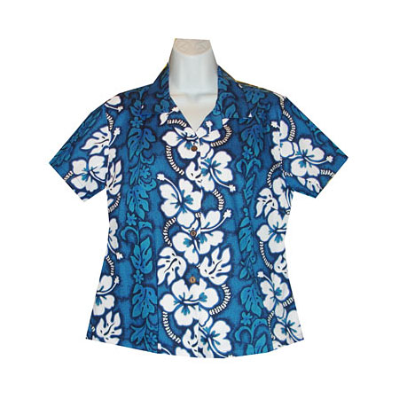 Hibiscus Panel Women's Fitted Hawaiian Blouse
