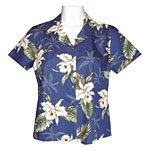 Orchid Palms 2 Women's Fitted Hawaiian Blouse