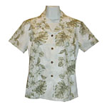 Hibiscus Orchid Palms Panel Women's Fitted Hawaiian Blouse