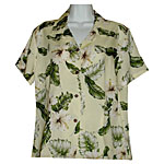 White Hibiscus Women's Fitted Hawaiian Blouse
