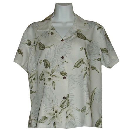 Orchid Palms Women's Fitted Hawaiian Blouse