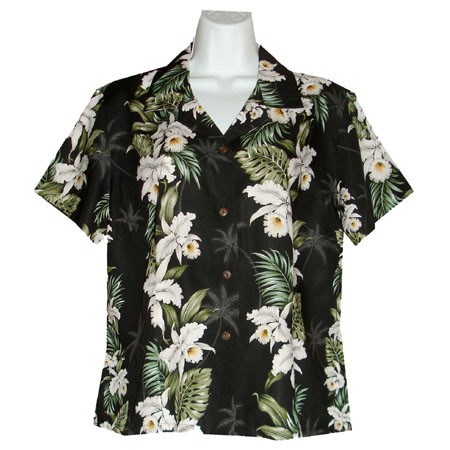 Orchid Panel Women's Fitted Hawaiian Blouse