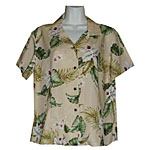 Orchid Plumeria Women's Fitted Hawaiian Blouse