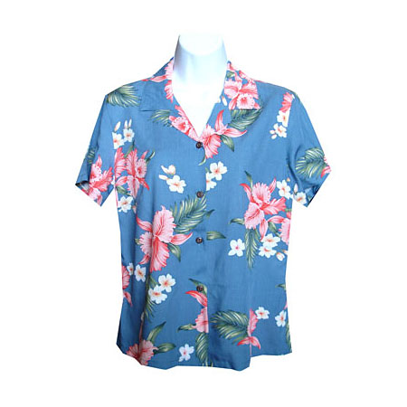 Pink Orchid Plumeria 2 Women's Fitted Hawaiian Blouse