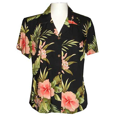 Women S Fitted Hawaiian Blouse Rayon Fitted Hawaiian Blouses