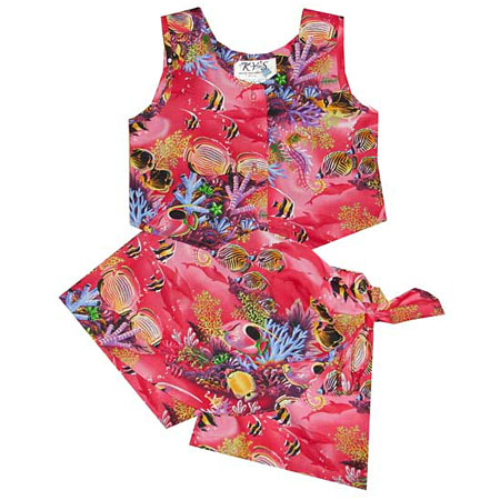 Girls Hawaiian Tank Top Two Piece Set