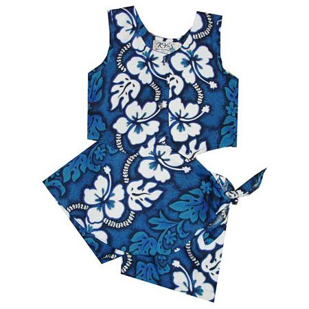 Hibiscus Panel Girls Hawaiian Tank Top Two Piece Set