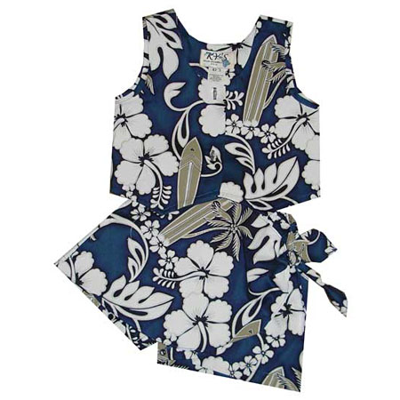 Hibiscus Plumeria Surfboard Girls Hawaiian Tank Top Two Piece Set