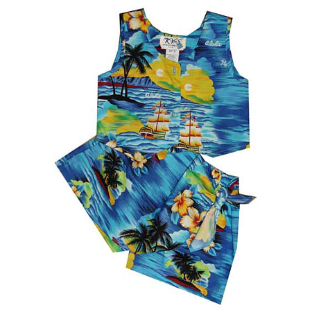 Sunset Sailing Girls Hawaiian Tank Top Two Piece Set