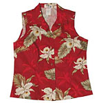 Orchid Palms 2 Womens Sleeveless Hawaiian Blouse