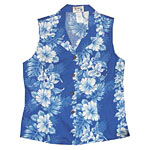 Hibiscus Orchid Palms Panel Womens Sleeveless Hawaiian Blouse