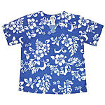 Hibiscus Print Aloha Medical Scrub Shirt