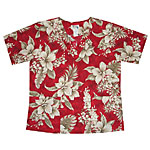 Hibiscus Floral Aloha Medical Scrub Shirt