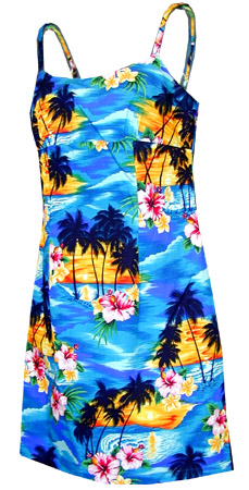 Tropical Sunset Girls Spaghetti Hawaiian Dress