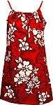 Hibiscus Floral Print Girls Spaghetti Hawaiian Dress