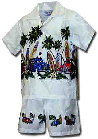 Longboard Woody Boys Toddler Hawaiian Chest Cabana Set