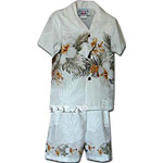Hibiscus Palm Fronds Boys Toddler Hawaiian Chest Cabana Set