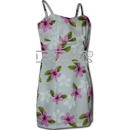 Plumeria Flower Short Spaghetti Strap Dress