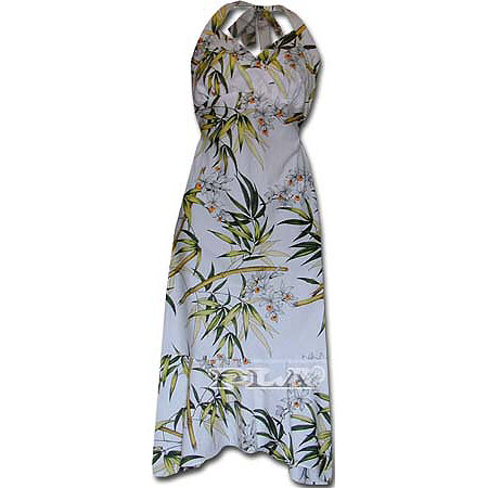 Hawaiian Dress on Flounce Dress  Cotton Mid Length Halter Flounce Hawaiian Dresses