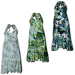 Cotton Mid-Length Halter Flounce Hawaiian Dresses