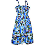 Tropical Diamond Head Print Spaghetti Tube Dress