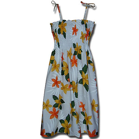 Plumeria Flower 3 Spaghetti Tube Dress