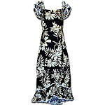 Hibiscus Palm Fronds Women's Ruffle Shoulder Muumuu
