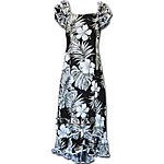 Hibiscus Palm Fronds 2 Women's Ruffle Shoulder Muumuu