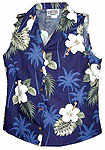 Hibiscus Palms Womens Sleeveless Hawaiian Blouse