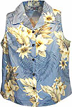 Hibiscus Floral Womens Sleeveless Hawaiian Blouse