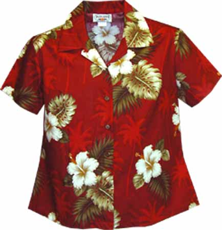 Hibiscus Palms Womens Fitted Hawaiian Blouse