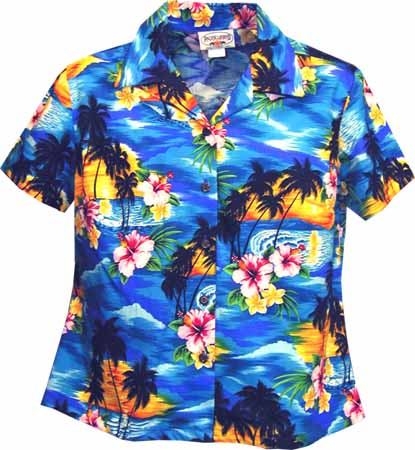 Tropical Sunset Womens Fitted Hawaiian Blouse Cotton Fitted