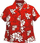Hibiscus Floral Print Womens Fitted Hawaiian Blouse